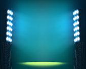 Stadium lights against dark Night sky background