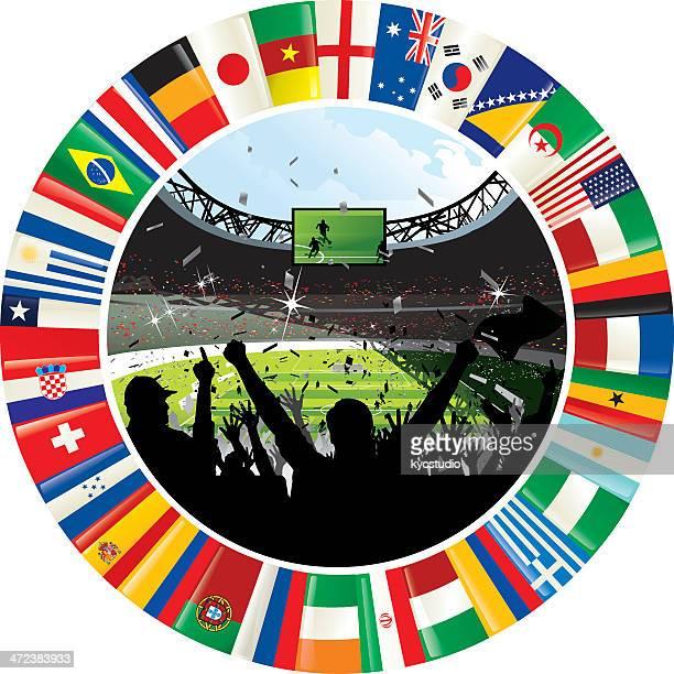 Estádio rodeada por anel do mundo Bandeiras de futebol Campeonato 2014