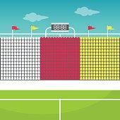 Stadium tribune with flags and scoreboard