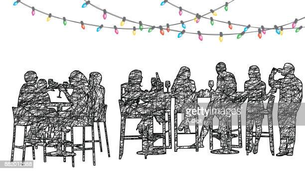 staff christmas party restaurant - happy hour stock illustrations, clip art, cartoons, & icons