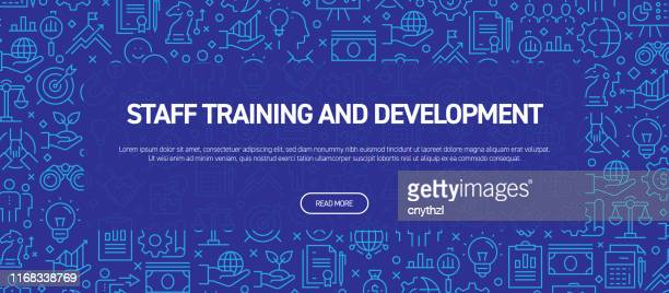 mitarbeiterschulungs- und entwicklungskonzept - business related seamless pattern web banner - internet konferenz stock-grafiken, -clipart, -cartoons und -symbole