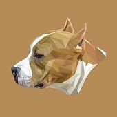Stafford dog animal low poly design.