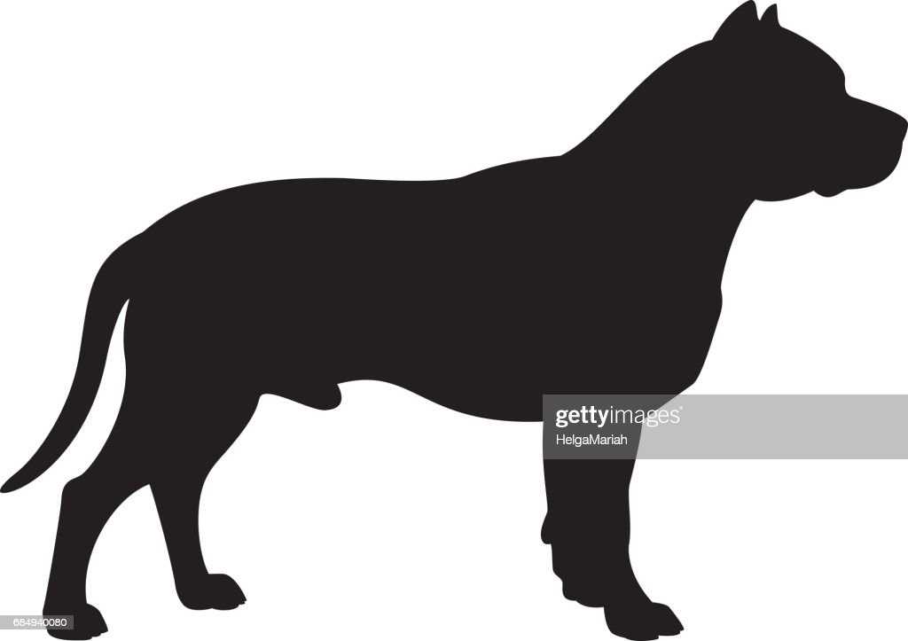 Staffordshire Bull Terrier Dog Vector Silhouette