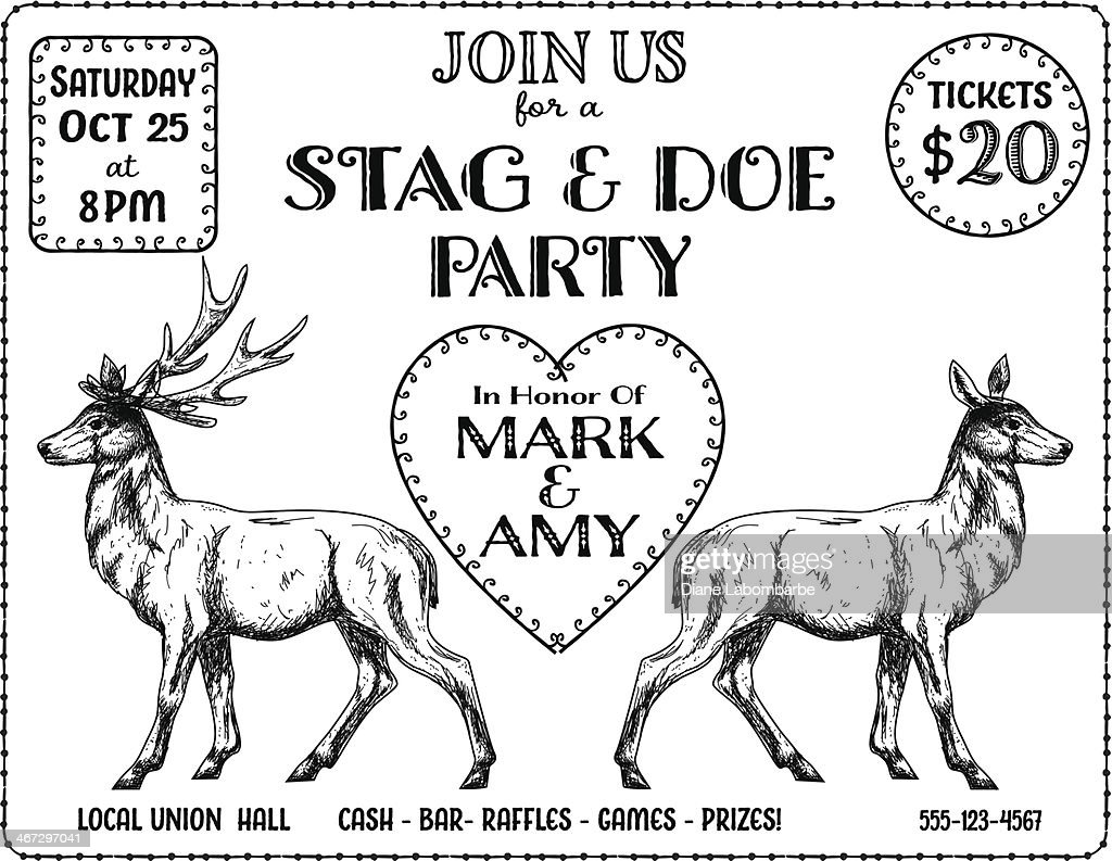 Stag And Doe Party Invitation Template Vector Art | Getty Images