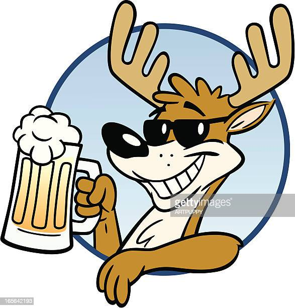 stag with beer - stag night stock illustrations, clip art, cartoons, & icons