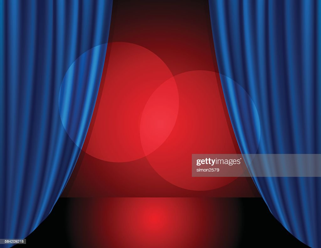 Stage background with blue color curtain