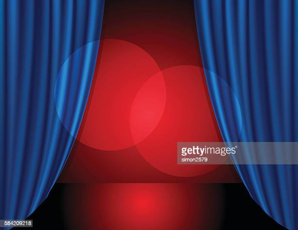 stage background with blue color curtain - opening event stock illustrations