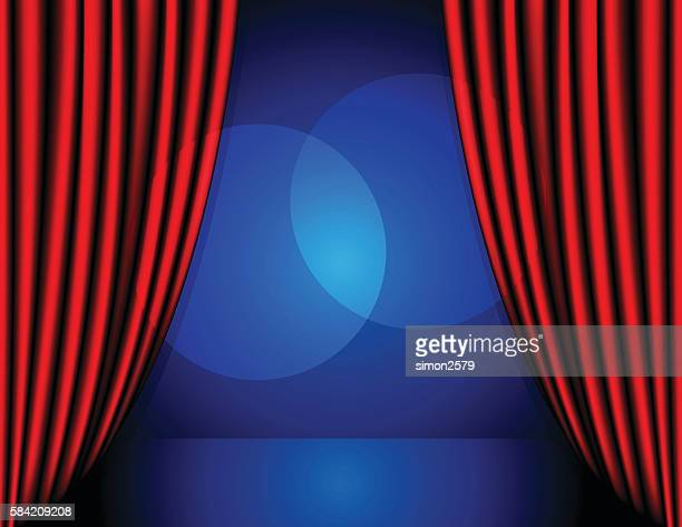 Stage background with red color curtain