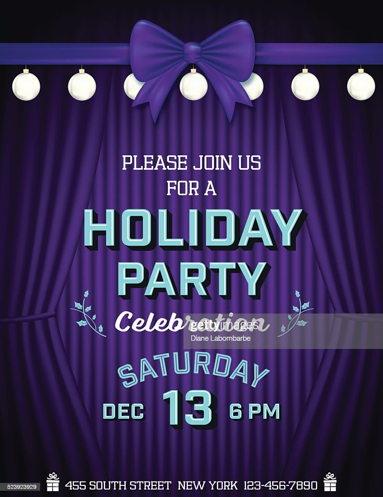 Stage Curtains Christmas Holiday Party Invitation Template Vector