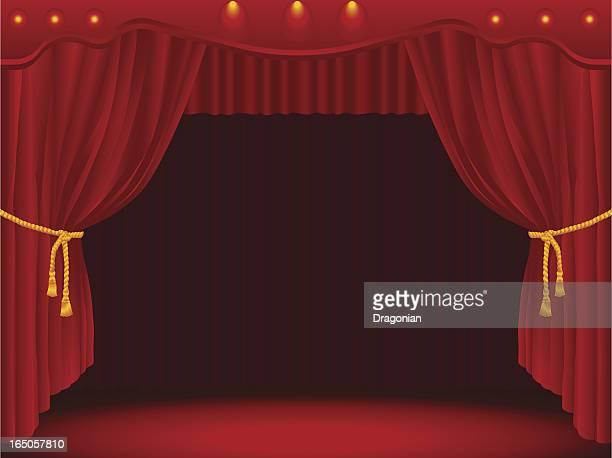 ilustrações, clipart, desenhos animados e ícones de palco com cortinas drapeadas - arte, cultura e espetáculo