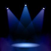 Stage Spotlights Lighting With Fog