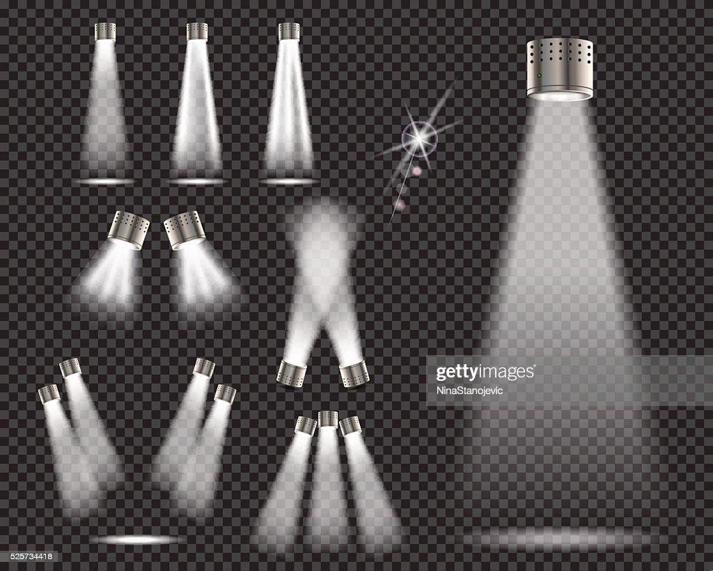 Stage lights, spotlights on transparent backgrund - vector illustration