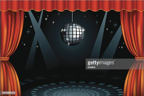 stage mirrorball - classical theater stock illustrations, clip art, cartoons, & icons