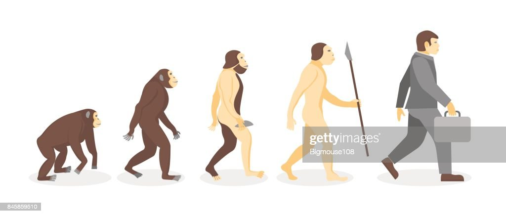 Stage of Human Evolution from Monkey to Businessman. Vector