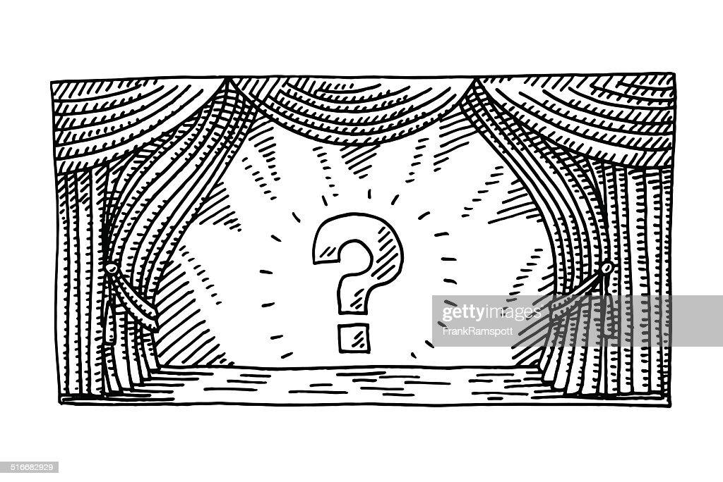 Stage Spotlight Question Mark Drawing : stock illustration