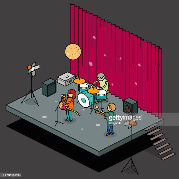 stage - rehearsal stock illustrations