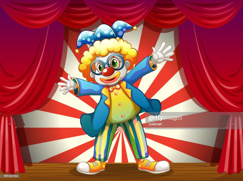 Stage with a funny clown