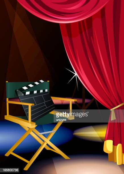 stage with directors chair and a curtain - director stock illustrations