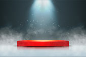 Stage with scenic lights. Round podium with smoke and spotlight. Vector illustration