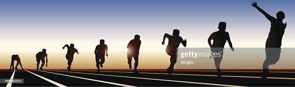 8 stages of running on a sunset shadow : stock illustration