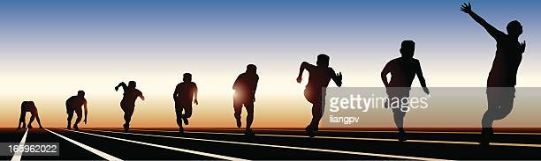 8 stages of running on a sunset shadow - multiple image stock illustrations, clip art, cartoons, & icons