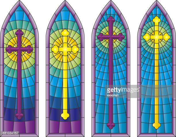 stained glass church windows - chapel stock illustrations, clip art, cartoons, & icons