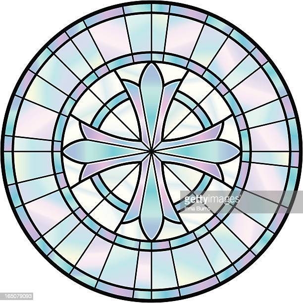 stained glass cross window - stained glass stock illustrations