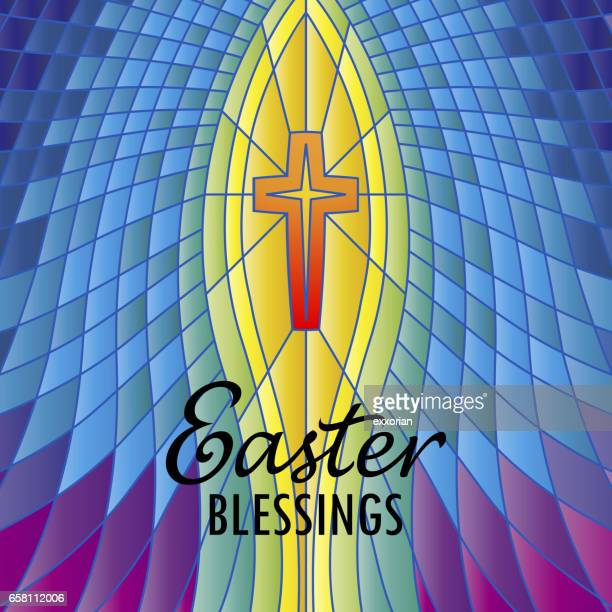 stained glass easter blessings - dirty easter stock illustrations