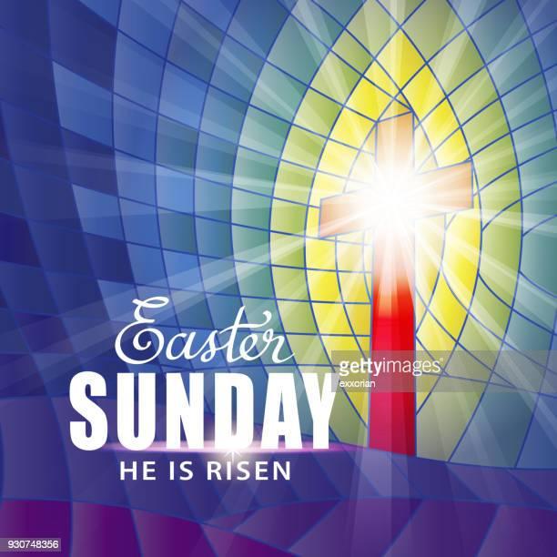 illustrazioni stock, clip art, cartoni animati e icone di tendenza di stained glass easter sunday - domenica di pasqua