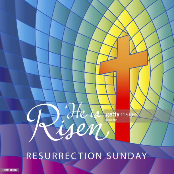 stained glass he is risen - resurrection religion stock illustrations, clip art, cartoons, & icons