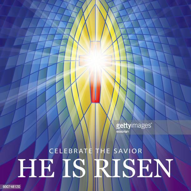 stained glass he is risen - easter religious stock illustrations