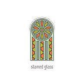 Stained glass line icon