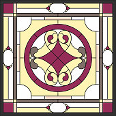 Stained glass panels for window on the ceiling in square frame