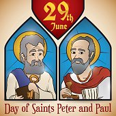 Stained Glass Portraits of Saints Peter and Paul for Solemnity