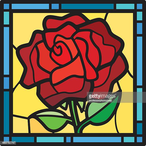 stained glass rose - stained glass stock illustrations