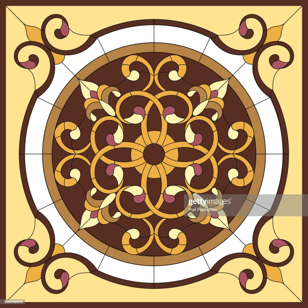 Stained glass window. Abstract Flower in square frame, geometric, window on the ceiling in square frame, symmetric composition, vector illustration.