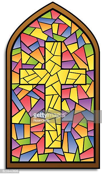stained glass window cross - crucifix stock illustrations, clip art, cartoons, & icons