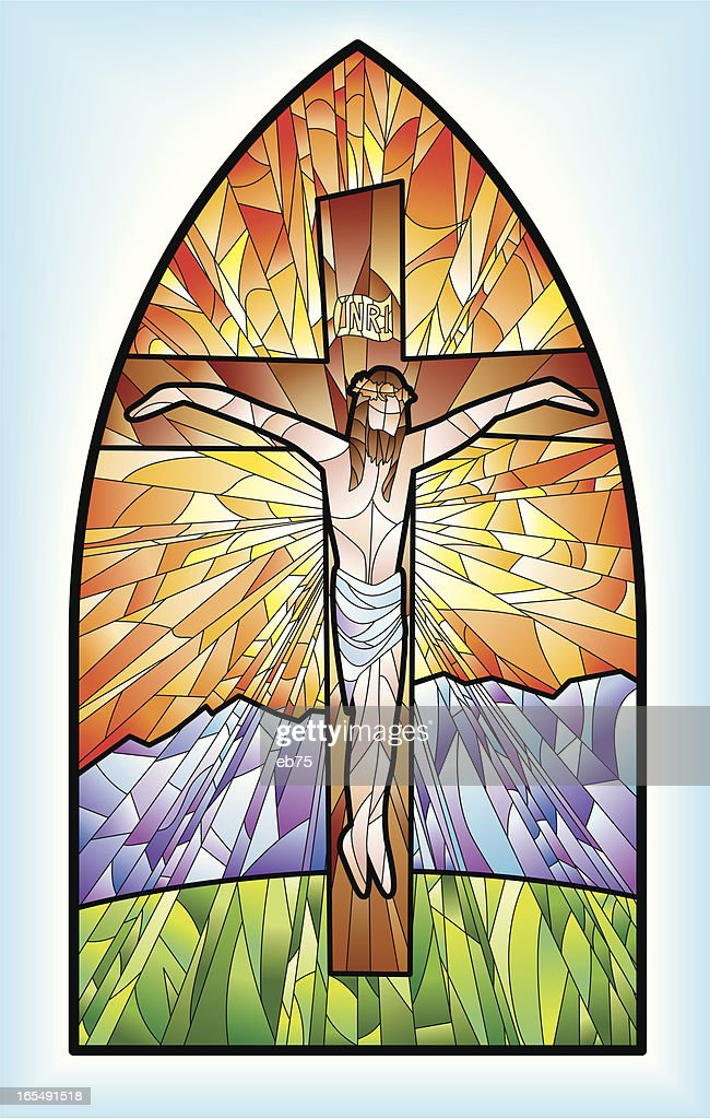 Stained Glass Window Jesus Vector Art