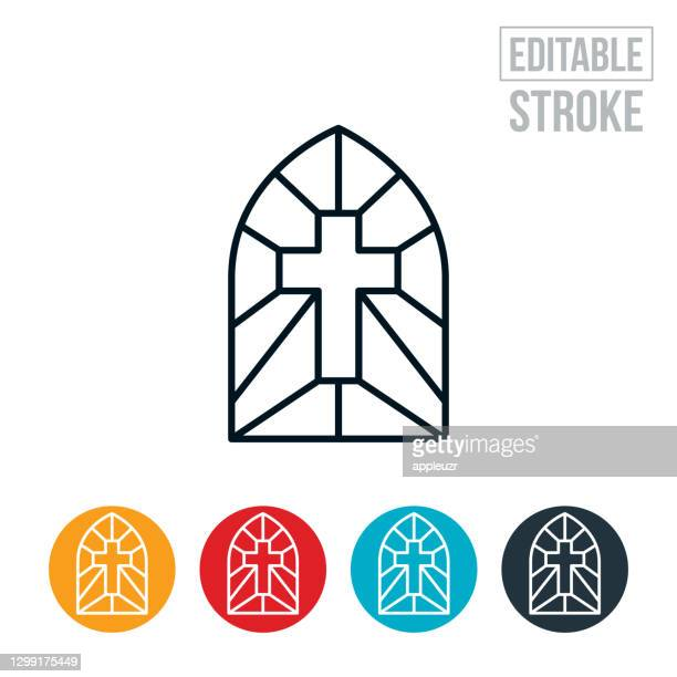 stained glass window with cross thin line icon - editable stroke - religious cross stock illustrations