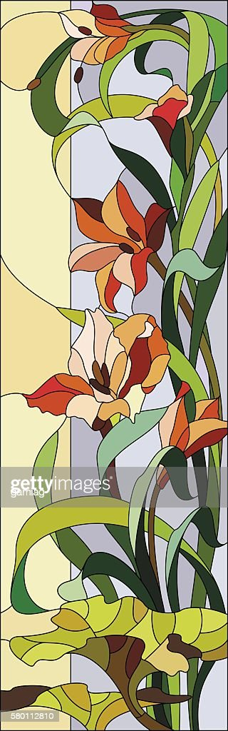 Stained glass window with gladioli