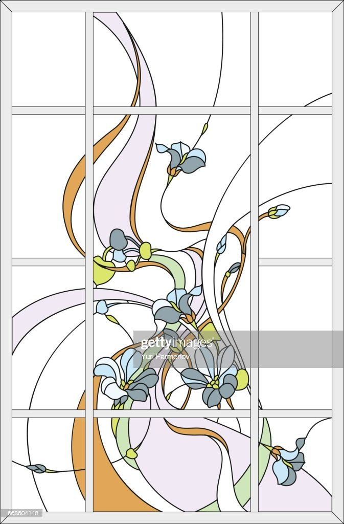 Stained glass with flowers and leaves.