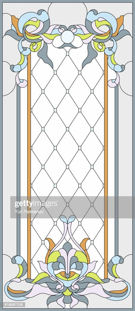 Stained-glass panel in a rectangular frame. Art Nouveau style