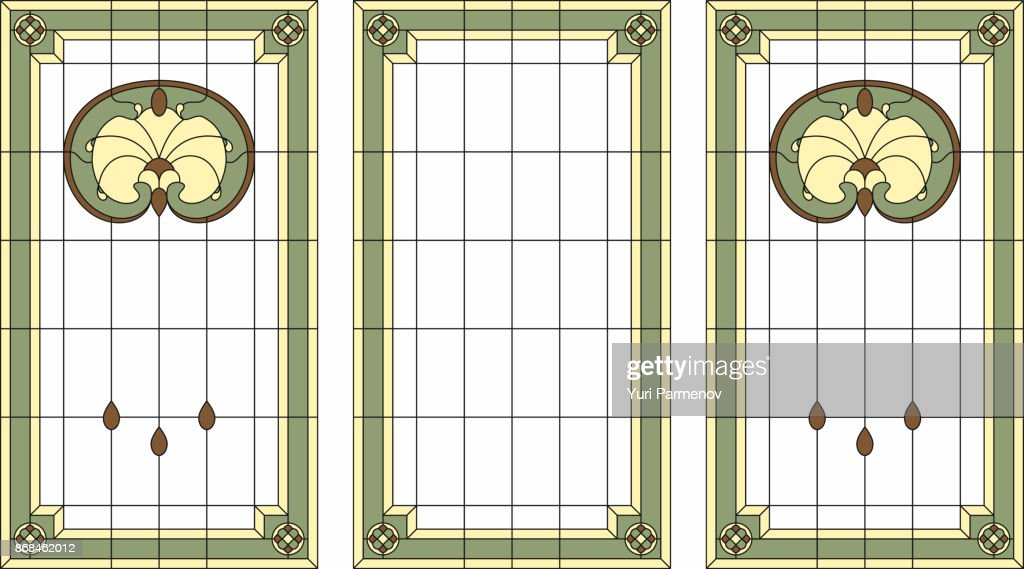 Stained-glass panel in a rectangular frame. Classic window, abstract floral arrangement of buds and leaves in the art Nouveau style. Vector