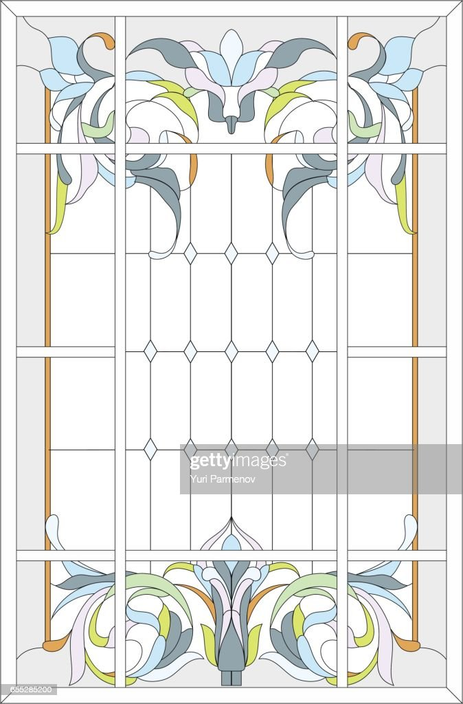 Stained-glass panel in a rectangular frame
