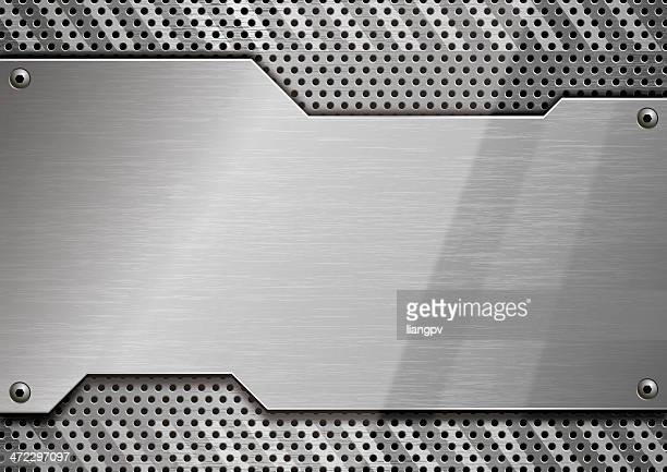 stainless steel block with perforated border - chrome stock illustrations, clip art, cartoons, & icons