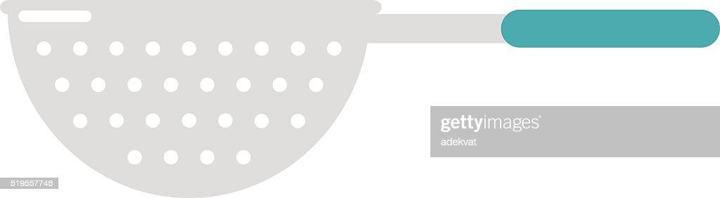 Stainless steel colander utensil kitchen equipment flat vector illustration