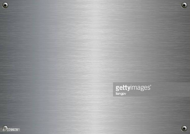 stainless steel plate with four fasteners - steel stock illustrations
