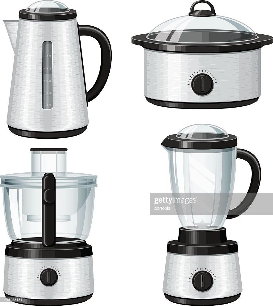 Stainless Steel Small Appliances Icon Set