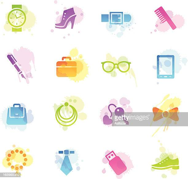 stains icons - accessories - neckwear stock illustrations