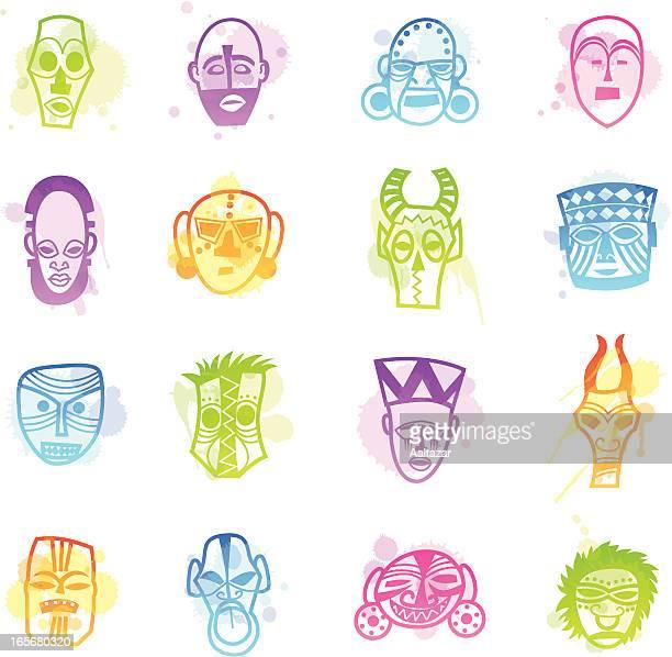 illustrations, cliparts, dessins animés et icônes de les taches icônes-afrique masques - masque africain